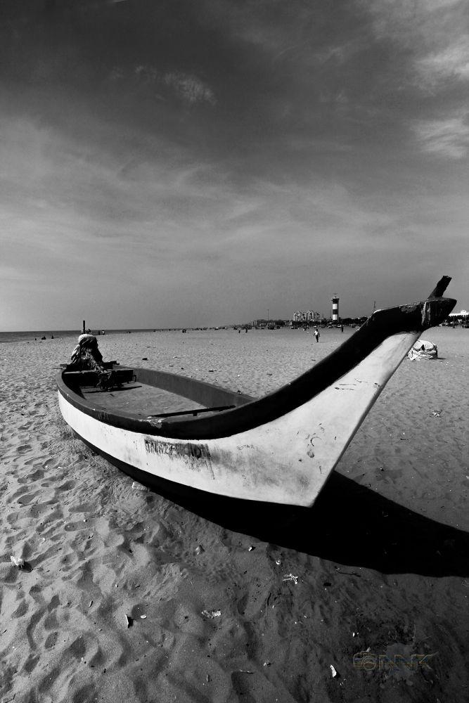 Photo in HDRI #hdr #boat #beach #fisherman #morning #b&w