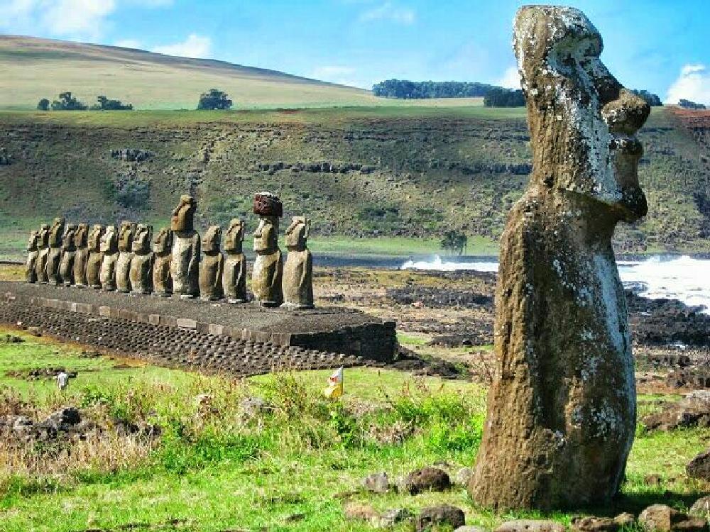 Photo in Random #easter island #statues #history #island #mystery #abandoned #coastline #sky #clouds #rapa nui