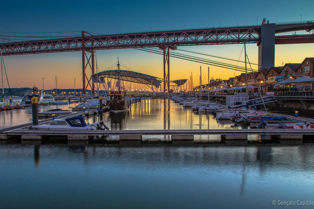Photo in Landscape #portugal #lisbon #santo amaro dock #sunset #boats #bridge