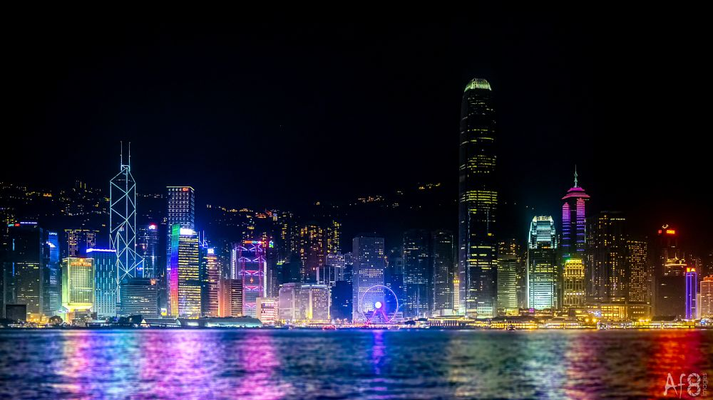 Photo in Cityscape #hong kong #night #city #cityscape #harbour #lights