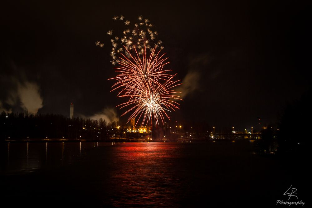 Photo in Landscape #landscape #cityscape #new year #fireworks #firework display #lake #water #ice