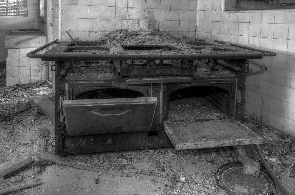 Photo in Black and White #old #building #black and white #monochrome #kitchen #abandoned #portugal #decay #indoor #exploration #hospital #forgotten #lost #urbex #derelict #indoors #stove