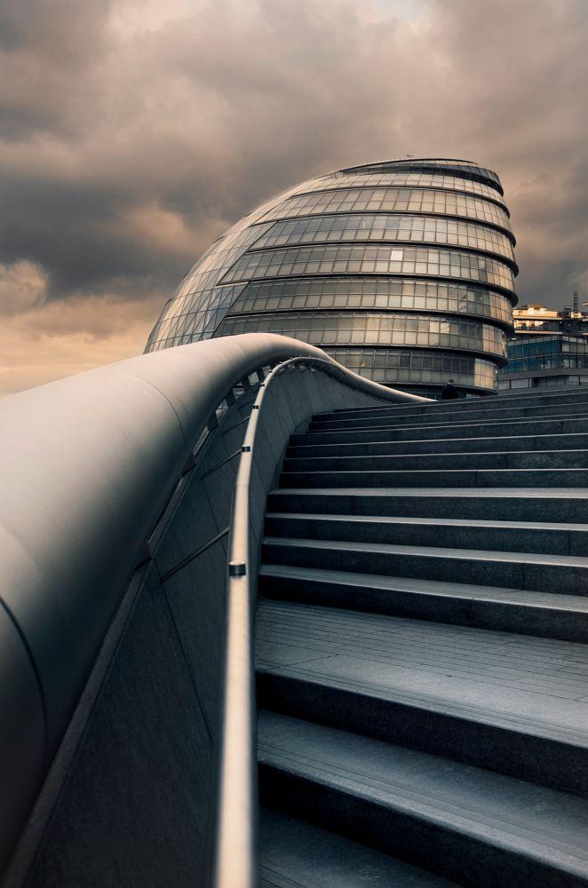 Photo in Architecture #london #city #hall #architecture #landscape #cityscape #thames #water #river #tower #bridge #building #skyscraper #steps #minimalistic #amazing #beautiful #cool #colour grading #orange #green #sunset #light #fine art