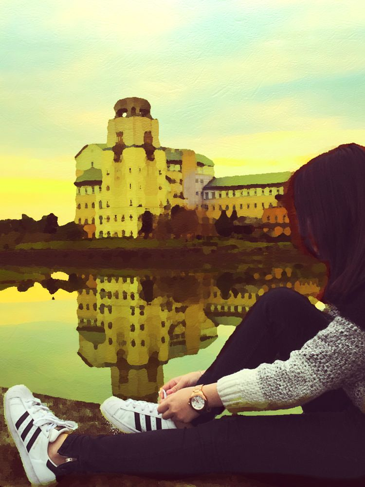 Photo in Random #taiwan #nduh #lake #reflection #girl #sky