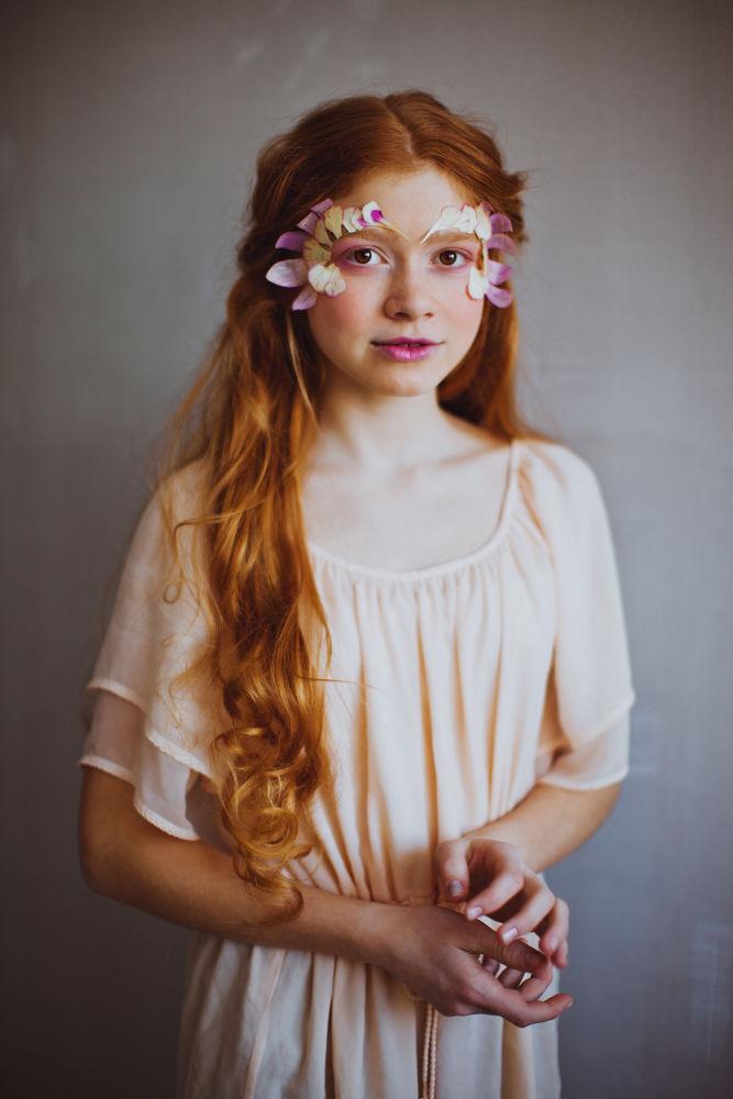 Photo in Portrait #girl #portrait #flower petals #red hair #long hair #beauty