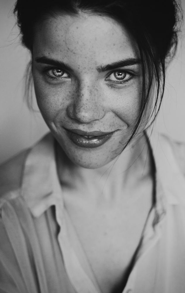 Photo in Portrait #girl #black and white #eyes #smile #pretty #beauty #portrait