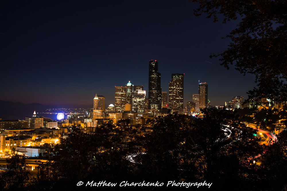 Photo in Cityscape #seattle #downtown #nighttime #cars #city #lights