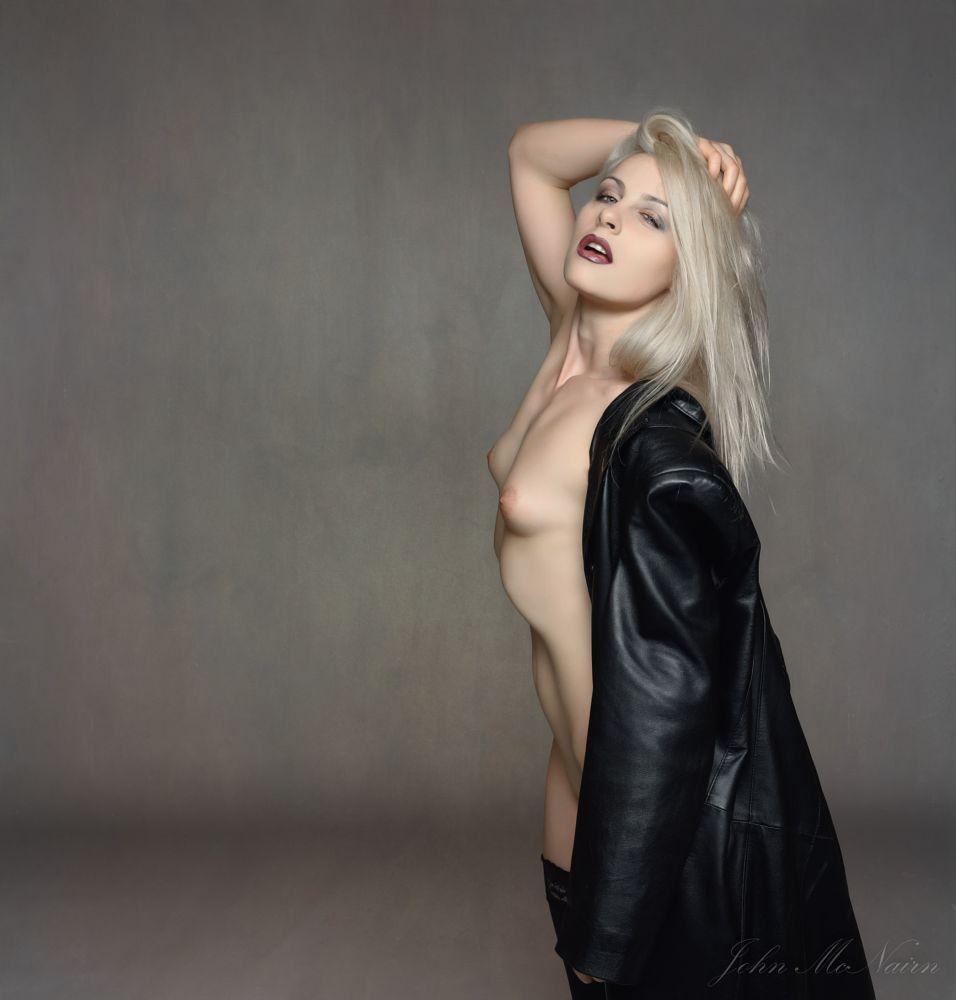Photo in Nude #nude #model #female #studio #leather