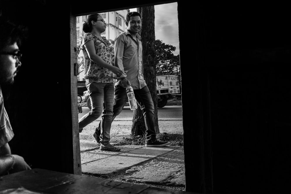 Photo in Street Photography #street #abstract #people #light #dark #b/w #mono #monochrome #blackandwhite #couple #love