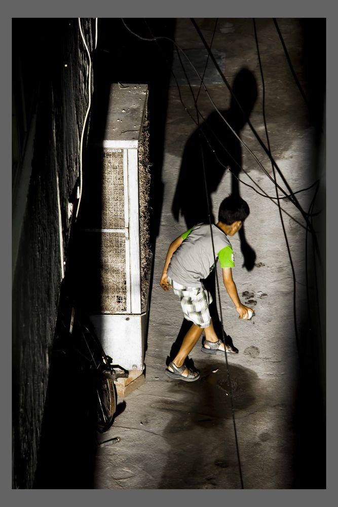 Photo in Sports #ball #kid #play #shadow