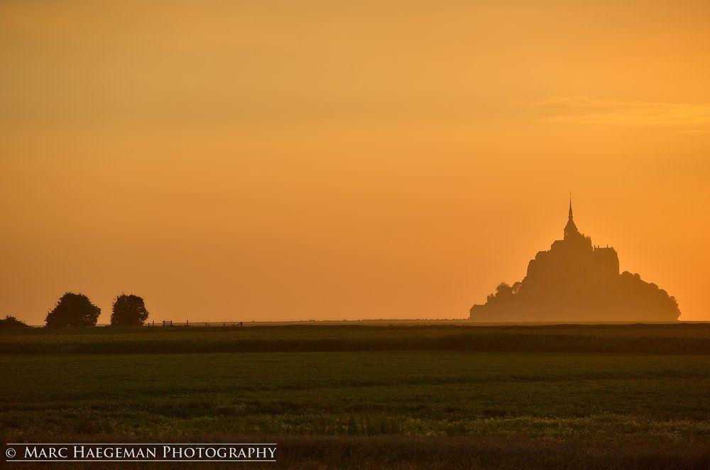 Photo in Architecture #mont-saint-michel #marc haegeman #sunsets #normandie #france #normandy #abbey