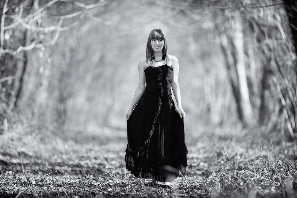 Photo in Black and White #girl #300 2.8 is #canon #300l #b&w #black #white #forest