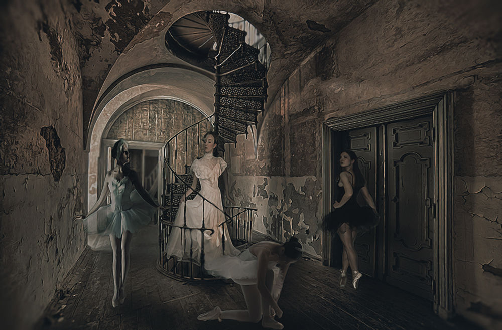 Photo in Fine Art #fine #art #artistic #digital #photoshop #girl #black #white #swan #dancer #ballet #classic #classical #degas #picture #pic #photo #manipulation #italy #light #impression #innocence #snob #stairs #colors #hdr #hdri #urbex