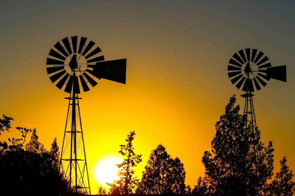 Photo in Cityscape #windmill #cyprus #famagusta #sunset #city #travel #summer #yellow #tree