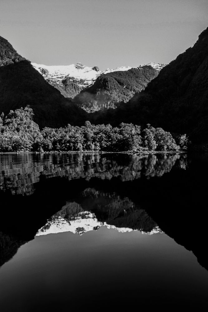 Photo in Black and White #roger sonneland #b/w seascape #b/w #b/w image of fiordland new zea