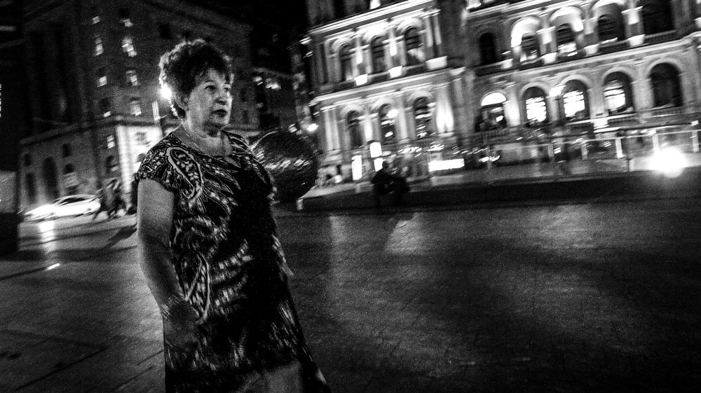 Photo in Street Photography #black and white #citylife #night #ricoh #dressed up