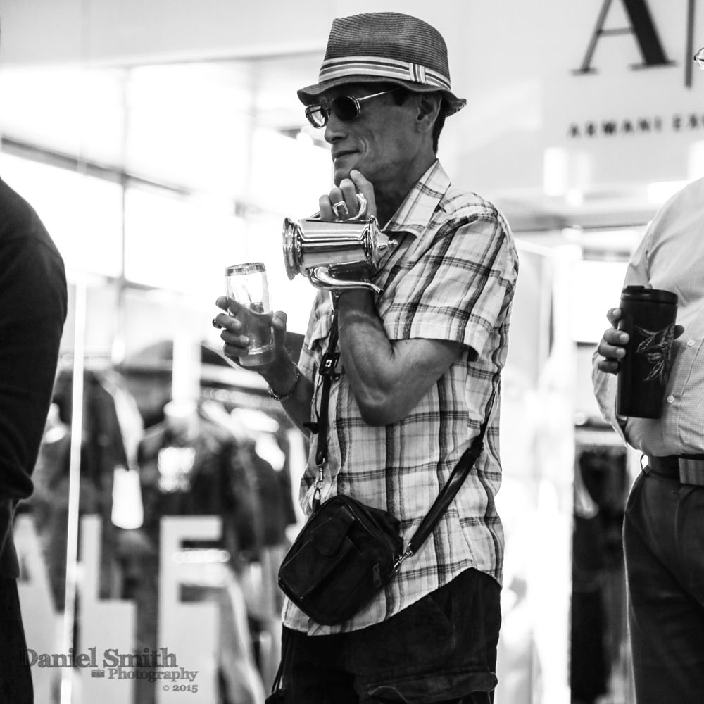 Photo in Street Photography #starbucks #man #street #tea #kettle #silver #bw #b&w #hawaii #oahu #waikiki