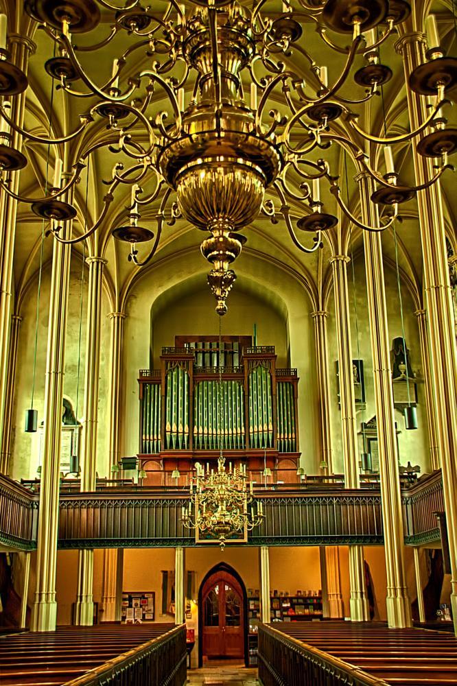 Photo in Interior #interior #church #chandellier #pews