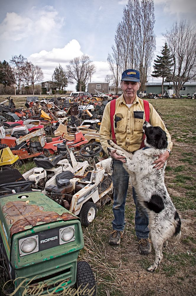 Photo in Portrait #farmer #dog #riding mowers