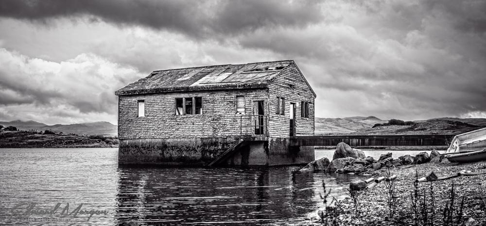 Photo in Landscape #lake #boat house #black and white #water