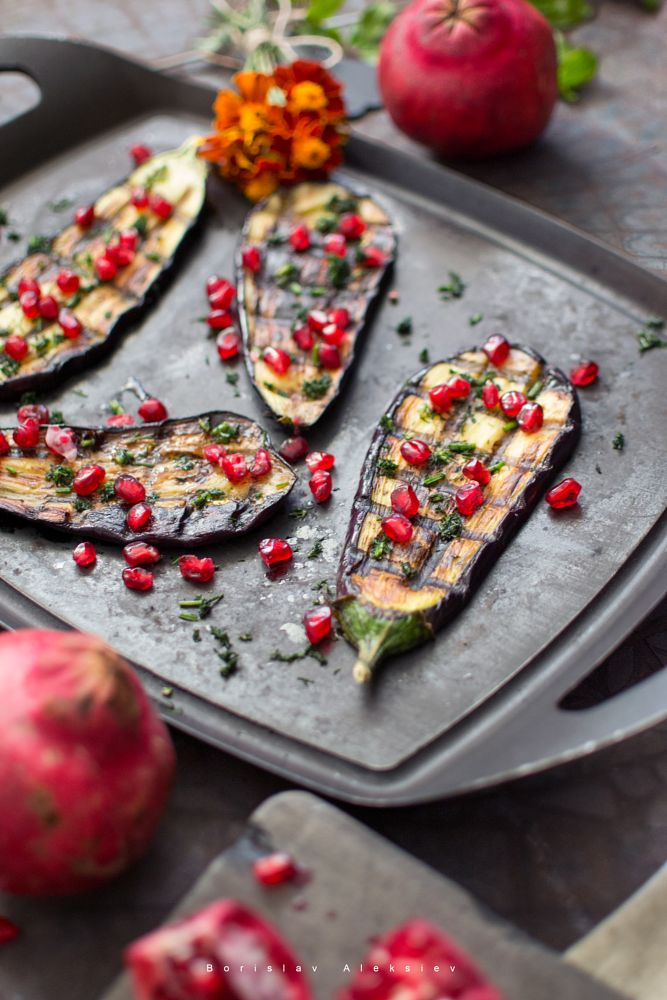Photo in Food #eggplant #pomegranate #spices #red #light #black #fresh #flower