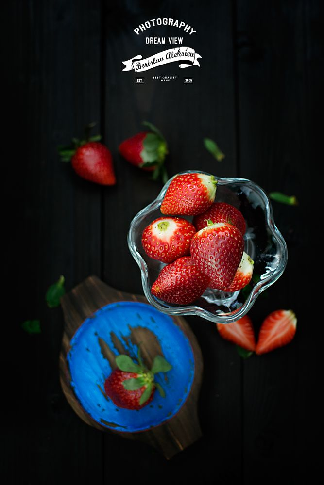 Photo in Food #strawberry #food #glass #wood #black #blue #nikon #light