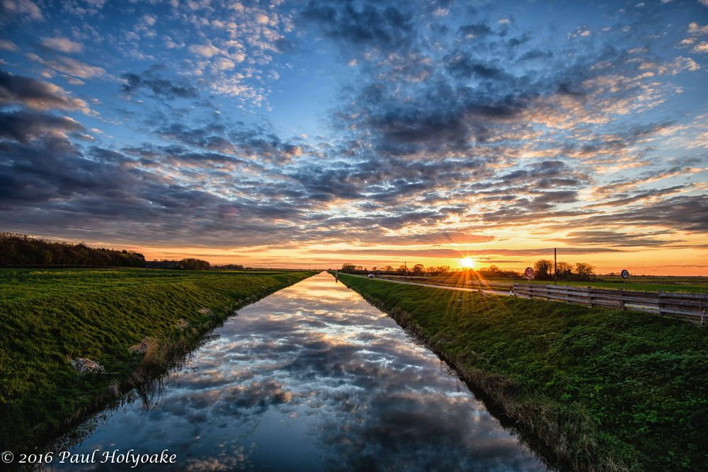 Photo in Landscape #sunset #drain #clouds #reflection