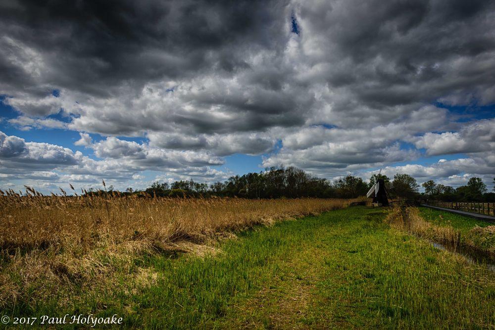 Photo in Landscape #fen #clouds #windpump