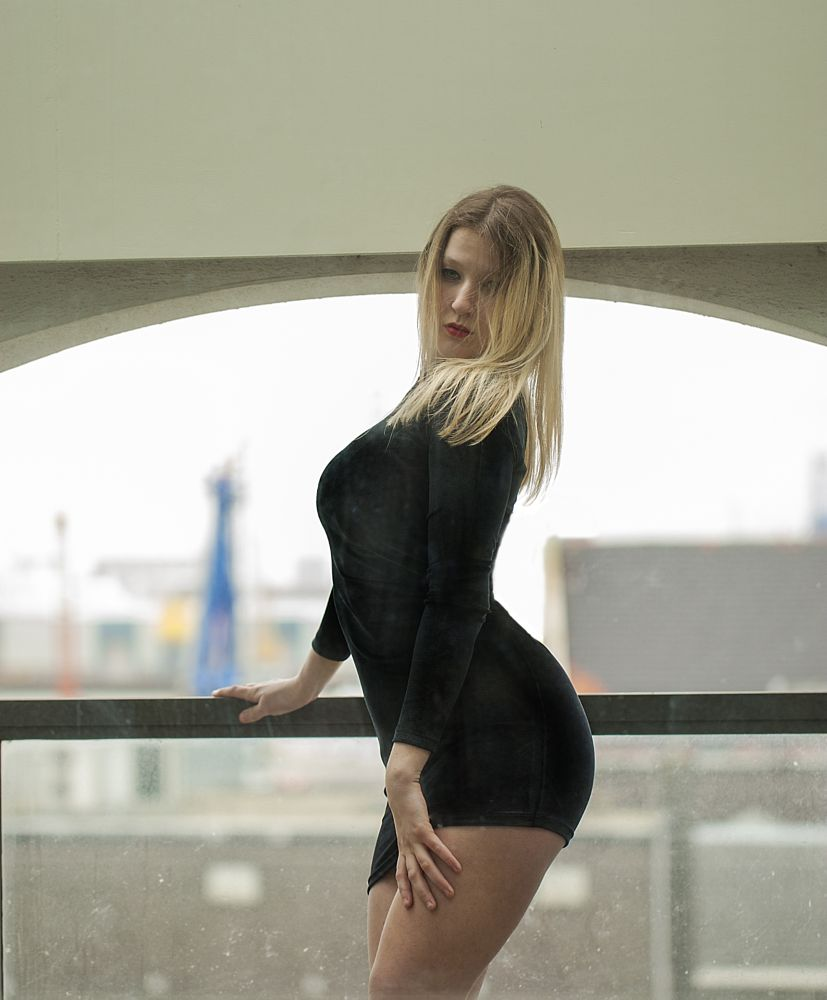 Photo in Portrait #blonde #long hair #sexy #balcony #outside #dress #legs #body #glamour