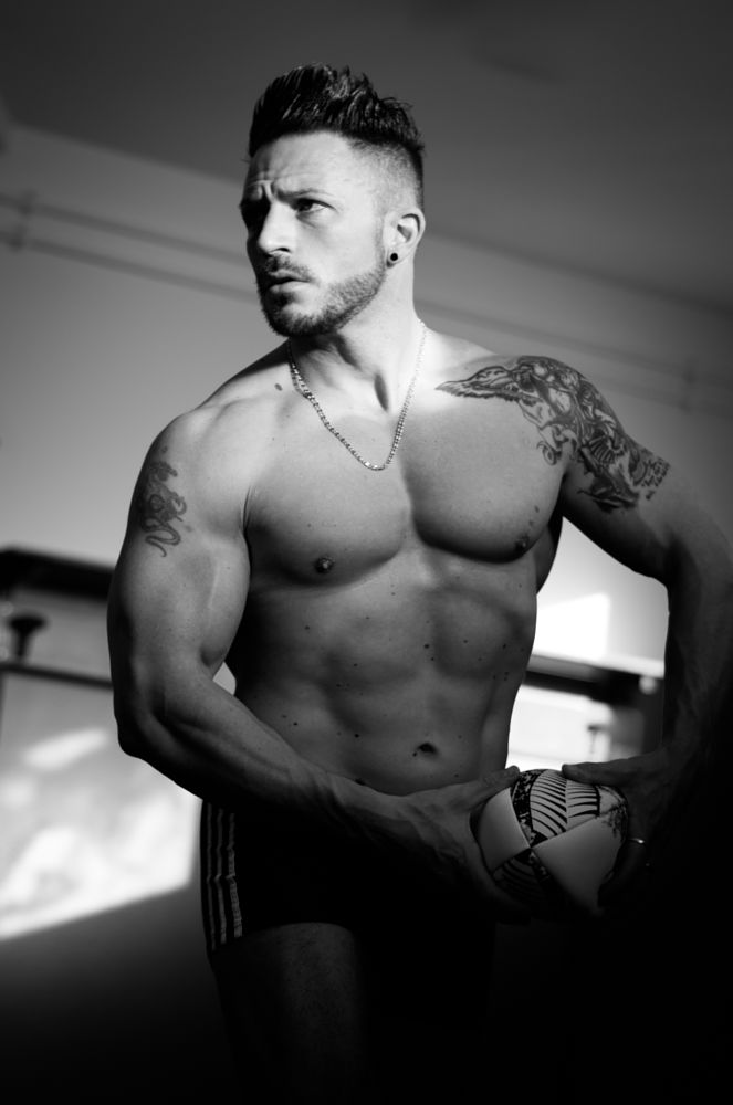 Photo in Black and White #portrait #blackandwhite #male #rugby player #ambient light #pentax #k5iis #tatoos