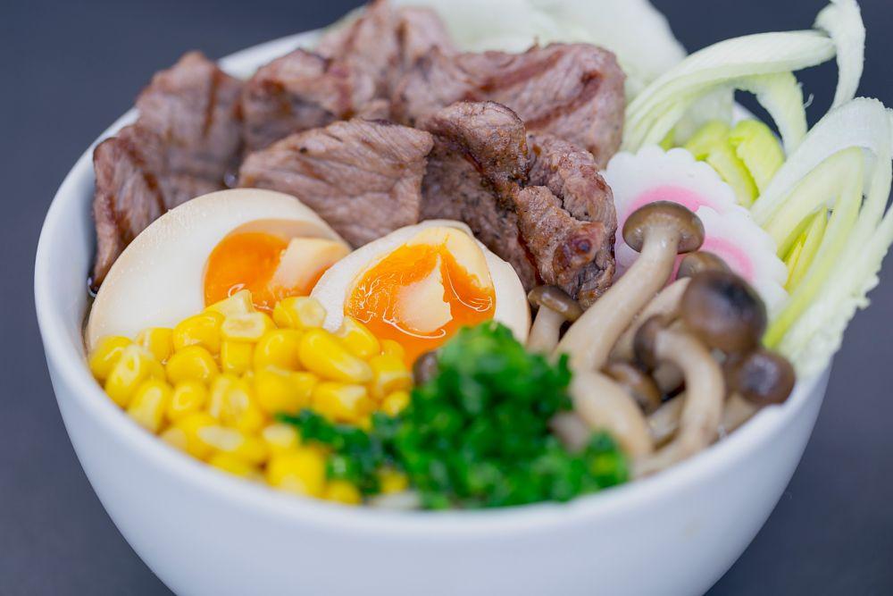 Photo in Food #soup #ramen #lunch #mushrooms #meat #loin #sirloin #egg #corn #colors #canon #6d #macro