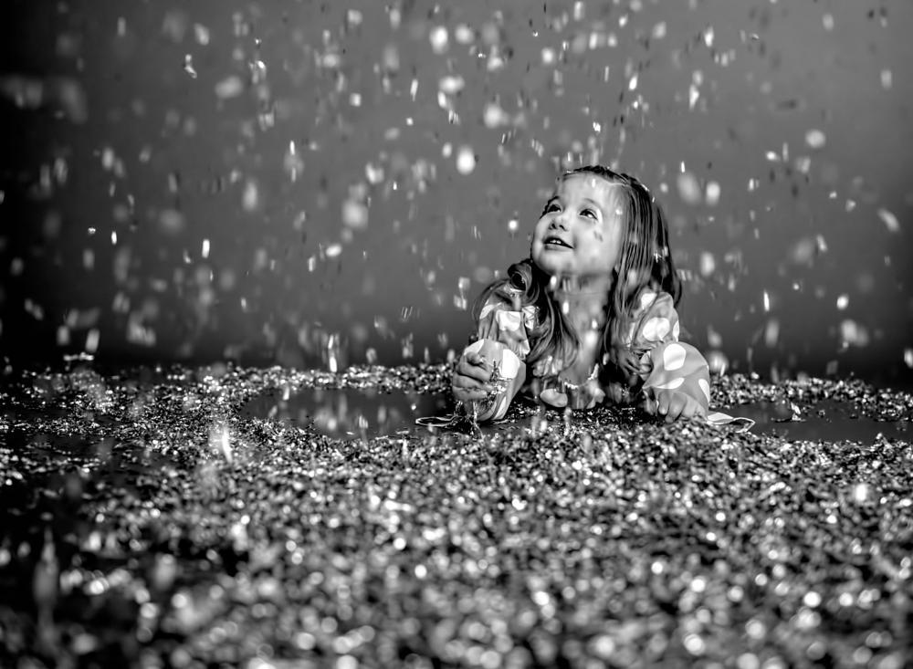 Photo in Family #girl #glitter #fun #black and white