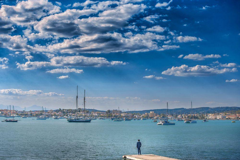 Photo in Wedding #sobokar #weddingphotographer #photo #groom #landscape #amazing #horizon #sea #yachts #weddingphoto #porto_heli #greece #professionalphotography #sobokar.com