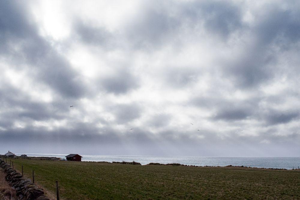 Photo in Landscape #landscape #nature #sea #water #coast #sky #clouds #sun #shine #reflection #grass #boathouse #building #stone #fence