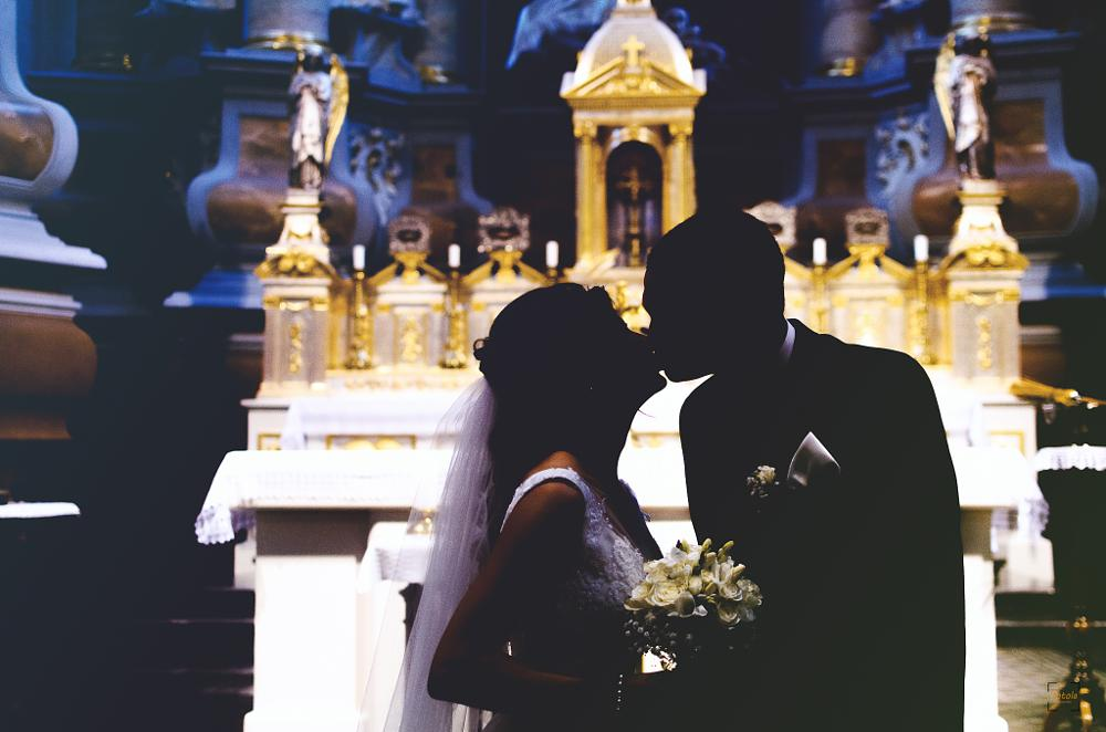 Photo in Wedding #weddings #church #portrait #kiss