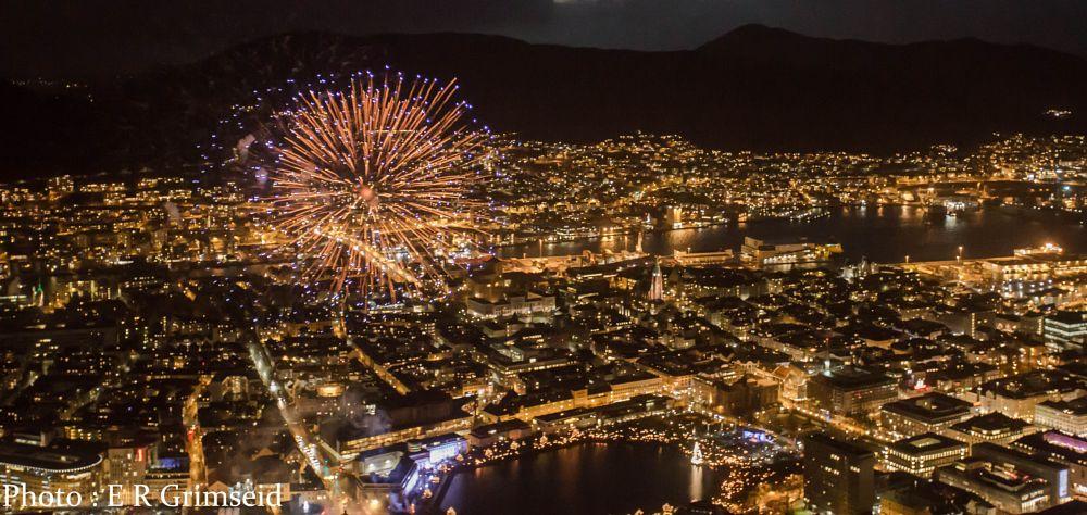 Photo in Cityscape #bergen #norway #fireworks #city #cityscape #view #light #dark #canon