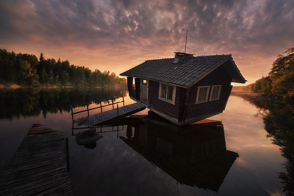 Photo in Landscape #sauna #finland #mika #suutari #summer #sun #lake #evening #canon #samyang