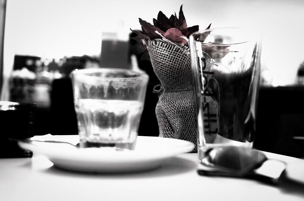 Photo in Still Life #berlin #café #pep's café #köpenick #table #glasses #bnw #b&w #few colors #dreamy #pretty still #flower pot #rose #flower #interior #souterrain #jo(c)me #ohannes #thisisberlin #berlinbyjo