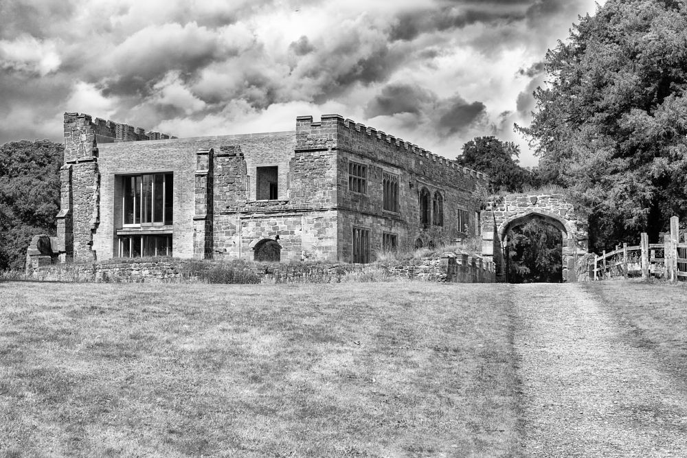 Photo in Black and White #astley #castle #astley castle #ruins #renovations