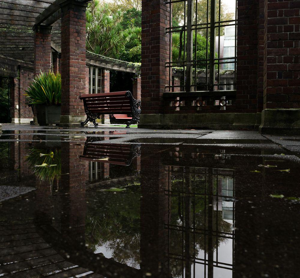 Photo in Landscape #bench #seat #reflection #brick