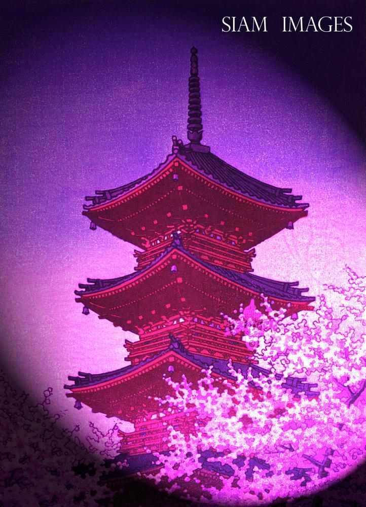 Photo in Fine Art #japan #pink #blossom #pagoda