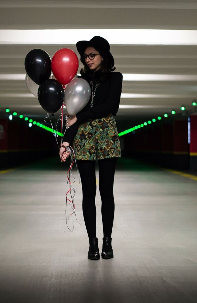 Photo in Random #ballons #helium #ballons #hat #black #parkinglot #red #glasses