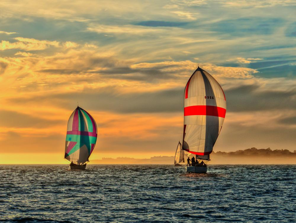 Photo in Random #sail boat #spinnaker #sailing #ocean #sunset