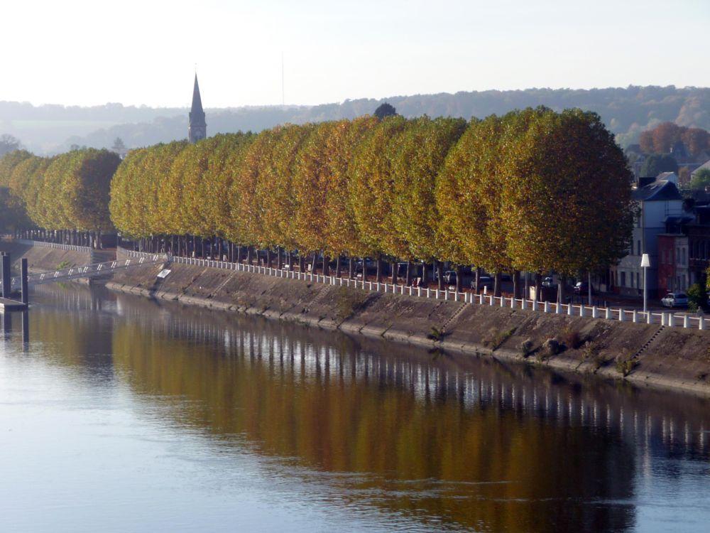 Photo in Landscape #village #church #chuch steeple #trees #river #the seine #landscape #riverside #autumn