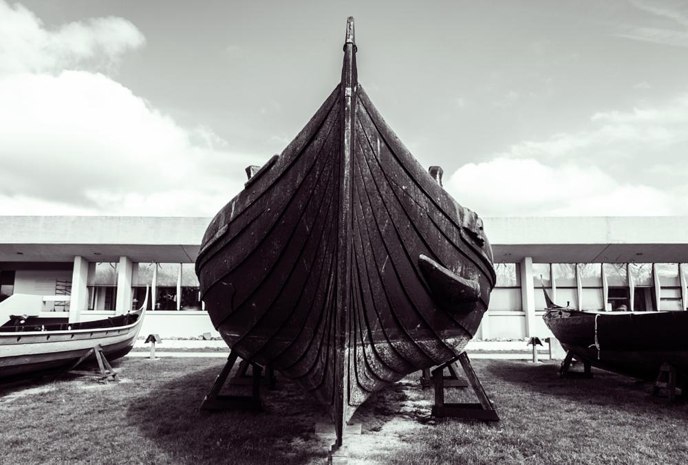 Photo in Black and White #viking #ship #old #black and white #roskilde #history #denmark #harbor #sky #wood #craft #museum