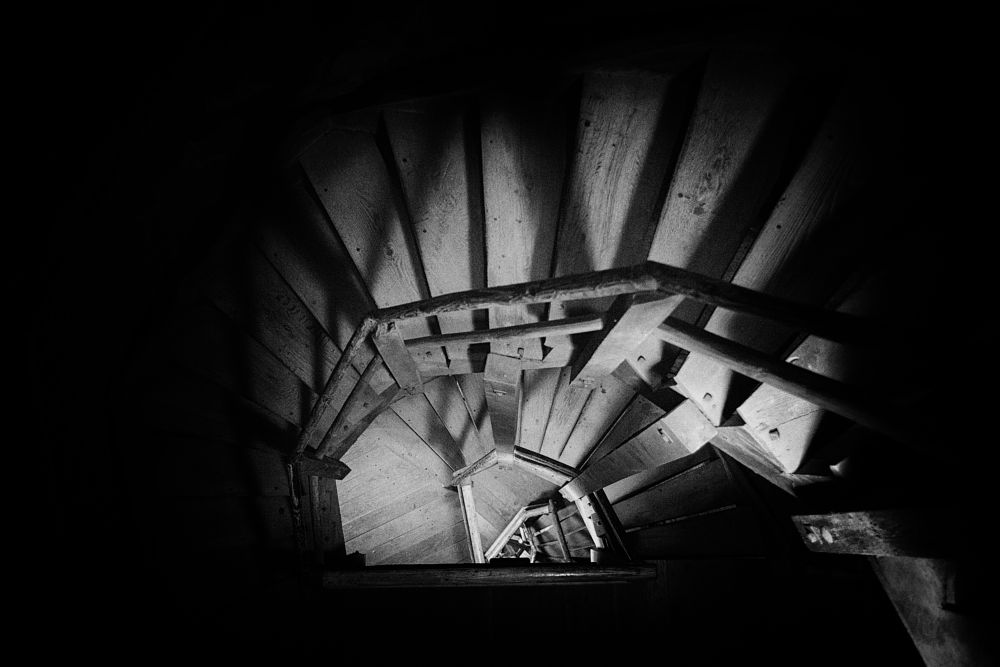 Photo in Black and White #tower #stairs #staircase #indoor #black&white