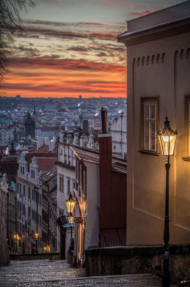 Photo in Random #the castle steps #prague #morning #sky #cityscape #landscape #stairs #clouds #sunrise