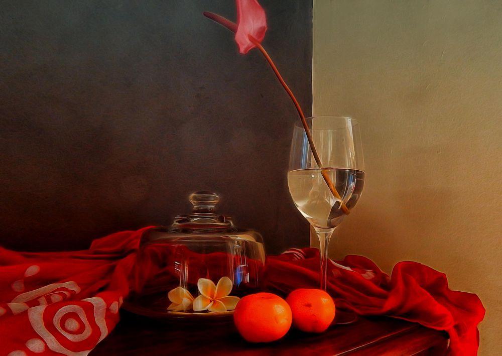 Photo in Still Life #still life #flowers #fruit #glass #inside