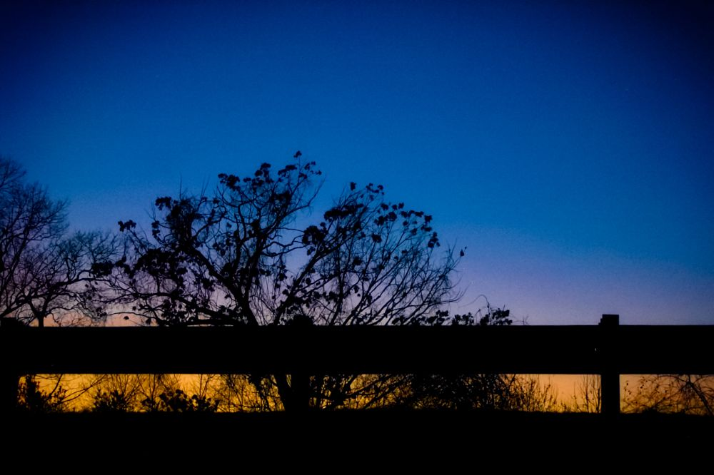 Photo in Random #dusk time #blue #yellow #late afternoon #trees #road #highway #pentax #k110d
