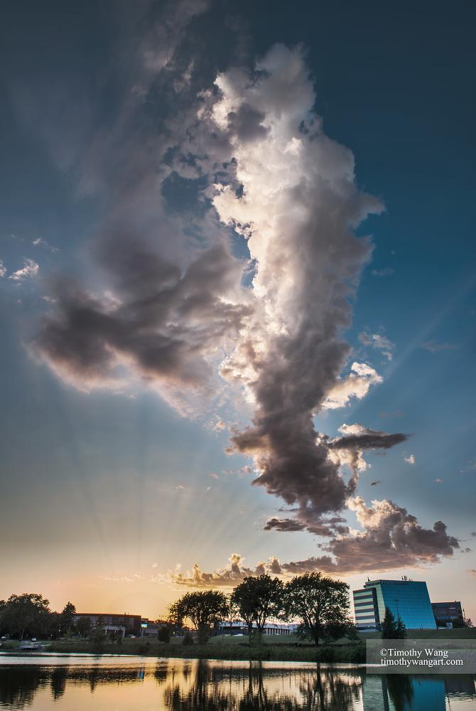 Photo in Landscape #sky #cloud #sunset #sunshine #light #beam